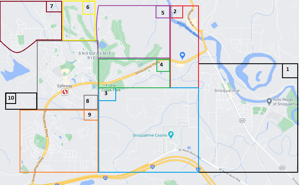 This is a map of areas in Snoqualmie used for the Wildland Fire survey.